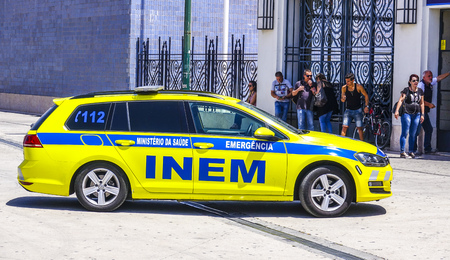 Ambulance Cars and Emergency in Lisbon - LISBON - PORTUGAL - JUNE 17, 2017