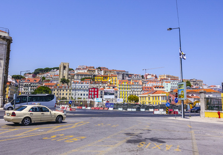 tagus: The colorful hills in the city of Lisbon - LISBON - PORTUGAL - JUNE 17, 2017