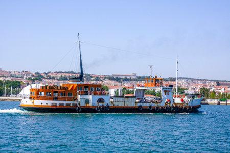 tagus: Big vessel on Tagus River in Lisbon - LISBON - PORTUGAL - JUNE 17, 2017