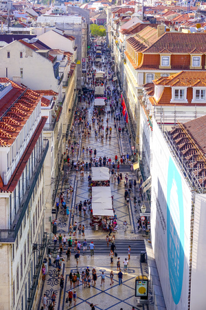 Most famous street in Lisbon - The Augusta Street - LISBON - PORTUGAL - JUNE 17, 2017 Editorial