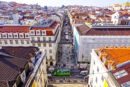 Aerial view over Augusta Street in Lisbon - LISBON - PORTUGAL - JUNE 17, 2017