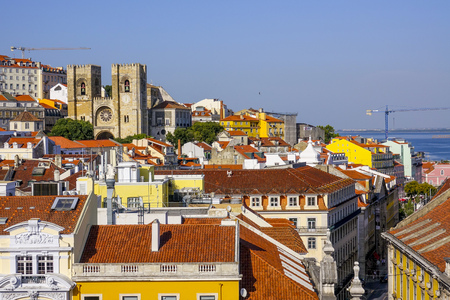 Amazing aerial view over the hills of Lisbon from Augusta Street Arch - LISBON - PORTUGAL - JUNE 17, 2017 Editorial