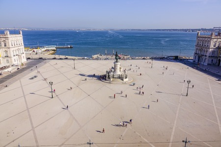 tagus: Aerial view over Comercio Square in Lisbon from Augusta Arch - LISBON - PORTUGAL