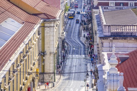 tagus: The streets of Lisbon with their tram tracks - LISBON - PORTUGAL - JUNE 17, 2017 Editorial