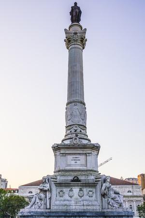 Dom Pedro monument in Lisbon - Rossio Square - LISBON - PORTUGAL 2017 Stock Photo