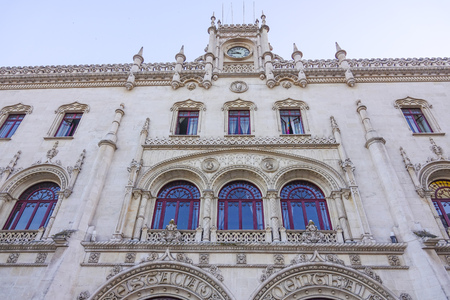 Beautiful building of Rossio Train station in Lisbon - LISBON - PORTUGAL 2017