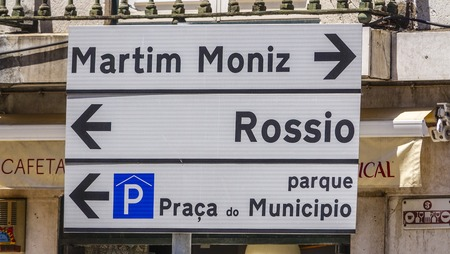 tagus: Direction signs in Lisbon leading to Rossio and Martim Moniz