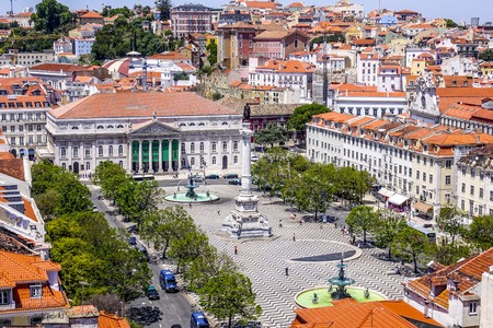 Aerial view over Dom Pedro Square in Lisbon Rossio with National Theater Stock Photo