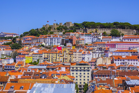 Aerial view over the city of Lisbon on a sunny day Stock Photo