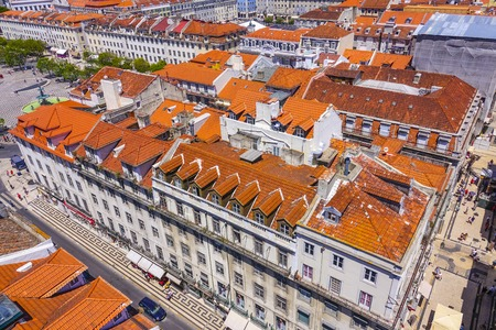 tagus: Aerial view over the city of Lisbon on a sunny day Stock Photo