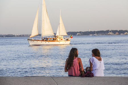 Sailing boats on Tagus River in Lisbon - River Tejo