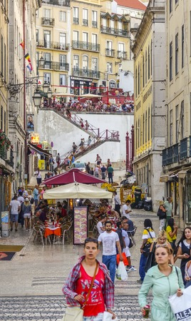 tagus: Amazing street view in the historic district of Lisbon - a busy place