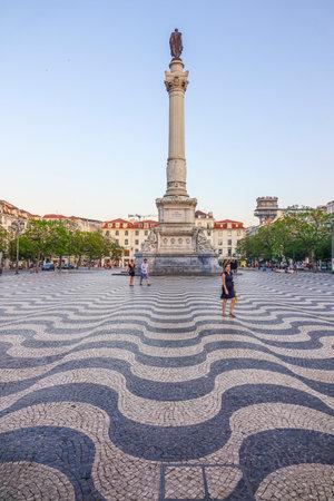 Beautiful Rossio Square aka Dom Pedro Square in Lisbon Editorial