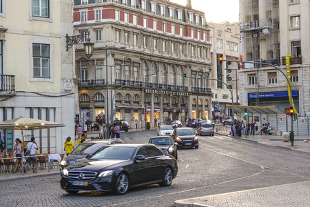 Street view at Rossio Square in Lisbon 報道画像