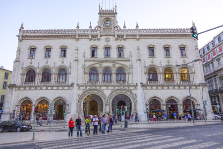 Beautiful building of Rossio Train station in Lisbon