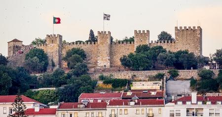 tagus: Saint George´s Castle in Lisbon Stock Photo