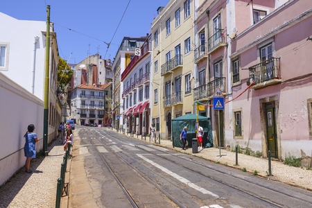 tagus: Narrow streets in historic district of Lisbon