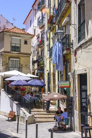 tagus: Small street cafes on the hills of Lisbon