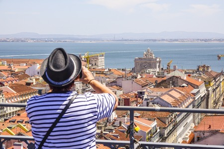 Taking pictures of Lisbon from Santa Justa Elevator