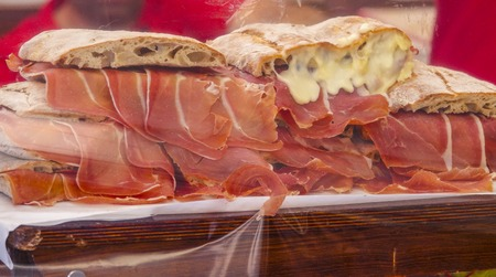 tagus: A specialty in Portugal - Bread with ham and melted cheese  - LISBON, PORTUGAL - 2017