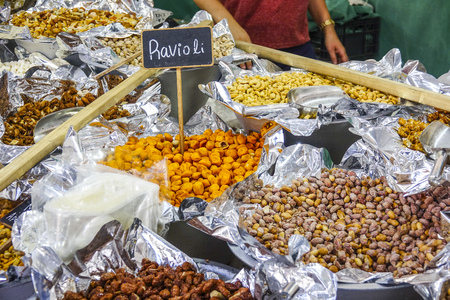 tagus: A market for Portuguese specialties - nuts and fruits for sale  - LISBON, PORTUGAL - 2017