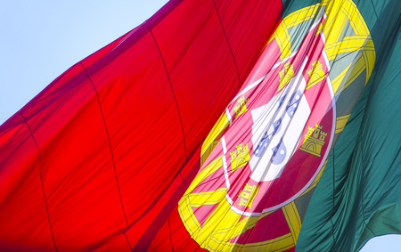 tagus: Portuguese Flag in the streets of Lisbon  - LISBON, PORTUGAL - 2017 Stock Photo