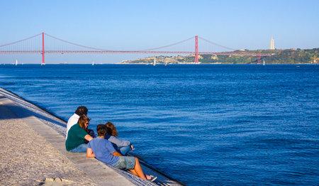 tagus: Relaxing at beautiful Tagus River in Lisbon aka Tejo