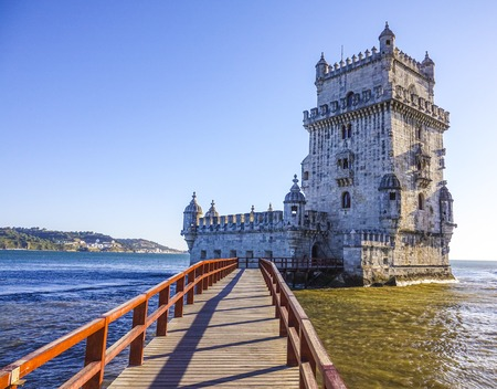 Important tourist attraction in Lisbon - The Tower of Belem  - LISBON, PORTUGAL - 2017
