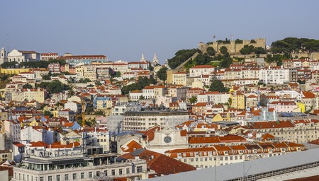 Amazing aerial view over the city of Lisbon