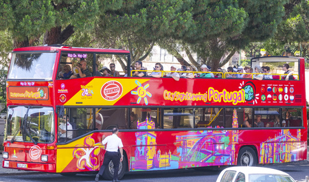 Sightseeing tour by bus in the city of Lisbon Editorial