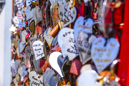 thousands: Thousands of Love Locks attached to the Love Sculpture at Tagus Riverwalk in Lisbon Editorial