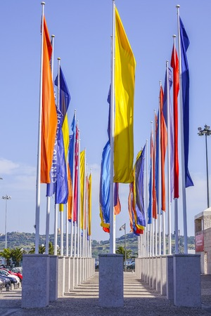 Flags at the CCB In Lisbon . The Cultural Center of Belem