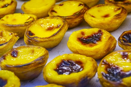 Delicious little Nata Cakes - very popular in Lisbon - Lisbon 2017 Stock Photo