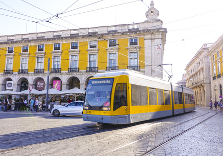 Modern tram in the city of Lisbon - LISBON, PORTUGAL 2017 Editorial