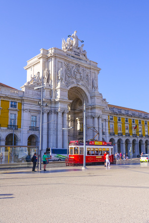 The Augusta Street Arch at Comercio Square in Lisbon - LISBON, PORTUGAL 2017