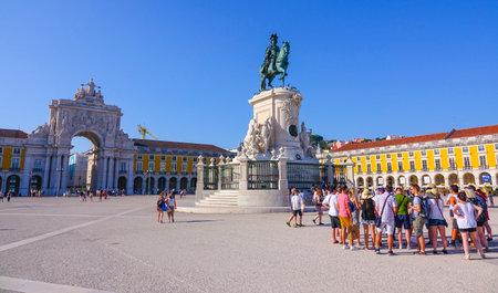 most popular: Most popular square in Lisbon - Praca do Comercio- The Comercio Square - LISBON, PORTUGAL 2017