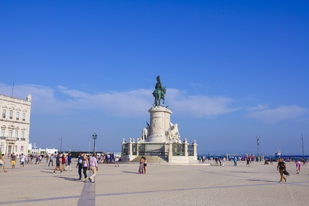 The Comercio Square in the city center of Lisbon with its statue - LISBON, PORTUGAL 2017 Editorial