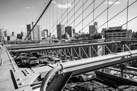 Street traffic on Brooklyn Bridge in New York - MANHATTAN  NEW YORK - APRIL 2, 2017