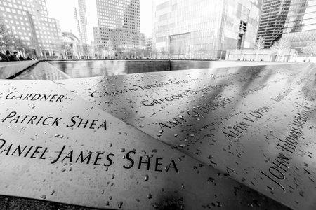 9-11 Memorial Fountains at Ground Zero - World Trade Center - MANHATTAN  NEW YORK - APRIL 2, 2017 Editorial