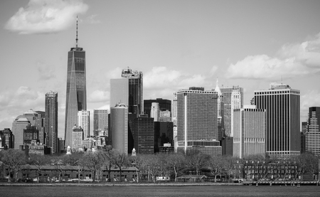 Typical Manhattan New York Skyline - view from Hudson River Stock Photo