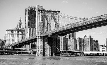Brooklyn Bridge New York - a famous landmark - MANHATTAN  NEW YORK - APRIL 2, 2017