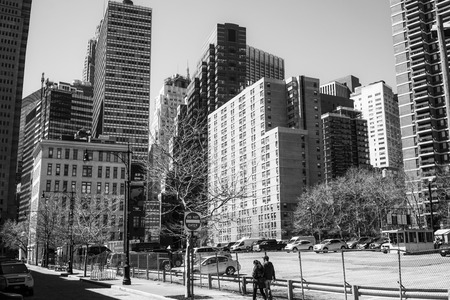 Beautiful buildings at Downtown Manhattan - MANHATTAN  NEW YORK - APRIL 2, 2017 Editorial