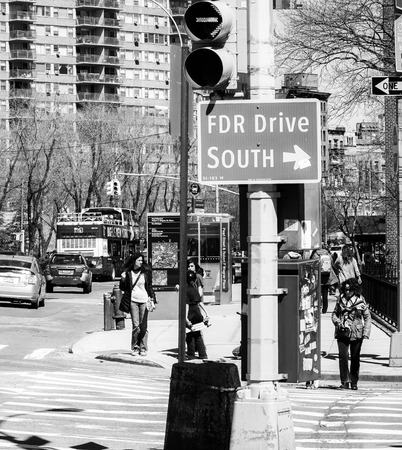 Direction sign to FDR Drive in New York - MANHATTAN  NEW YORK - APRIL 2, 2017 Editorial