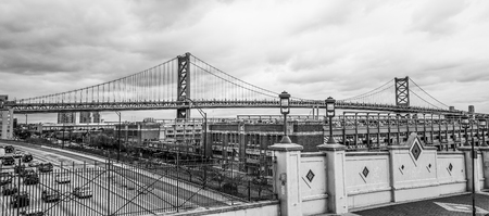 Benjamin Franklin Bridge in Philadelphia - PHILADELPHIA  PENNSYLVANIA - APRIL 6, 2017