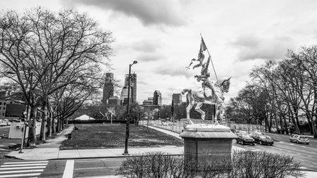 Golden statue - Monument of Joan D Arc in Philadelphia - PHILADELPHIA  PENNSYLVANIA - APRIL 6, 2017