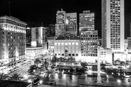Popular place in San Francisco - The Union Square at night - SAN FRANCISCO - CALIFORNIA - APRIL 17, 2017 Editorial