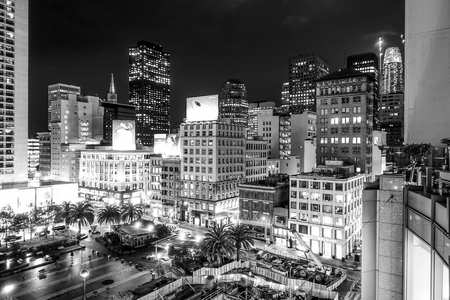 San Francisco Downtown - the Union Square - aerial view at night - SAN FRANCISCO - CALIFORNIA - APRIL 17, 2017