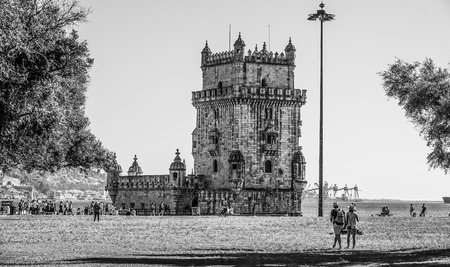 Famous Belem Tower in the city of Lisbon - LISBON  PORTUGAL - JUNE 15, 2017
