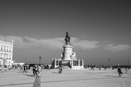 The Comercio Square in the city center of Lisbon with its statue - LISBON  PORTUGAL - JUNE 16, 2017