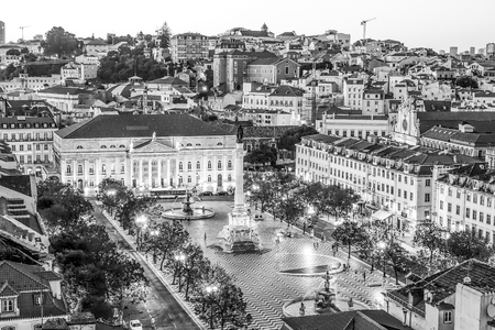 Aerial view over Dom Pedro Square in Lisbon Rossio - LISBON  PORTUGAL - JUNE 17, 2017